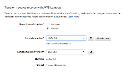 Using a Lambda function to process the records