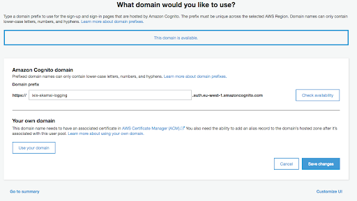 Generating and using a .amazoncognito.com domain for logins