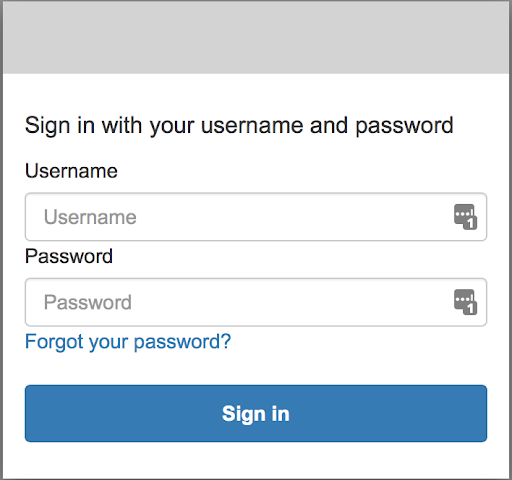 An example of the login screen if successfully setup