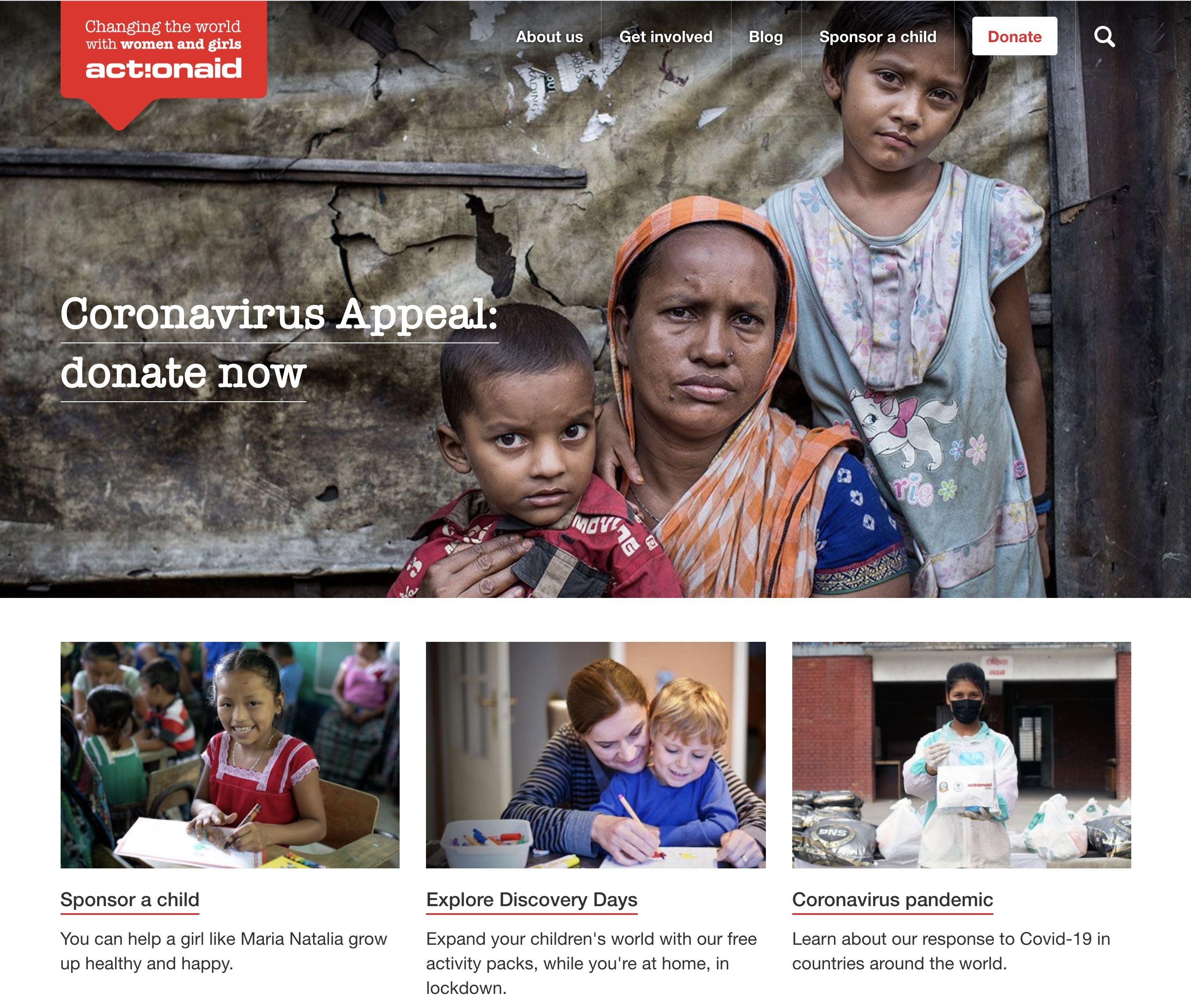 Action Aid UK homepage