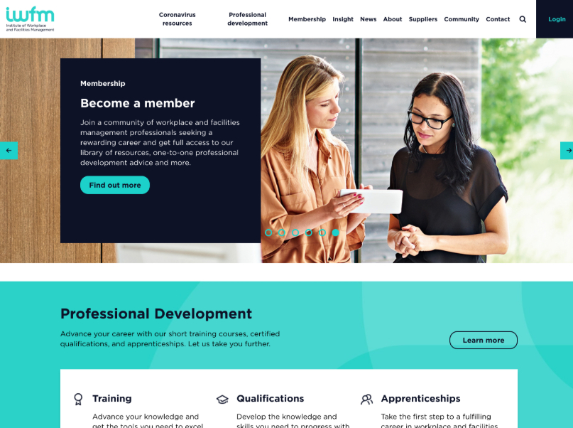 Institute of Workplace and Facilities Management Website Homepage