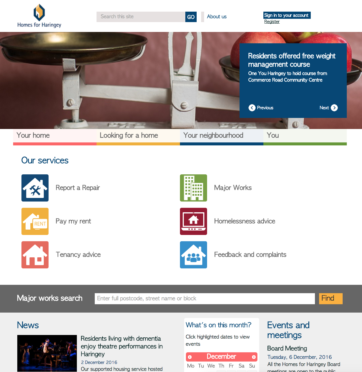 Homes for Haringey homepage