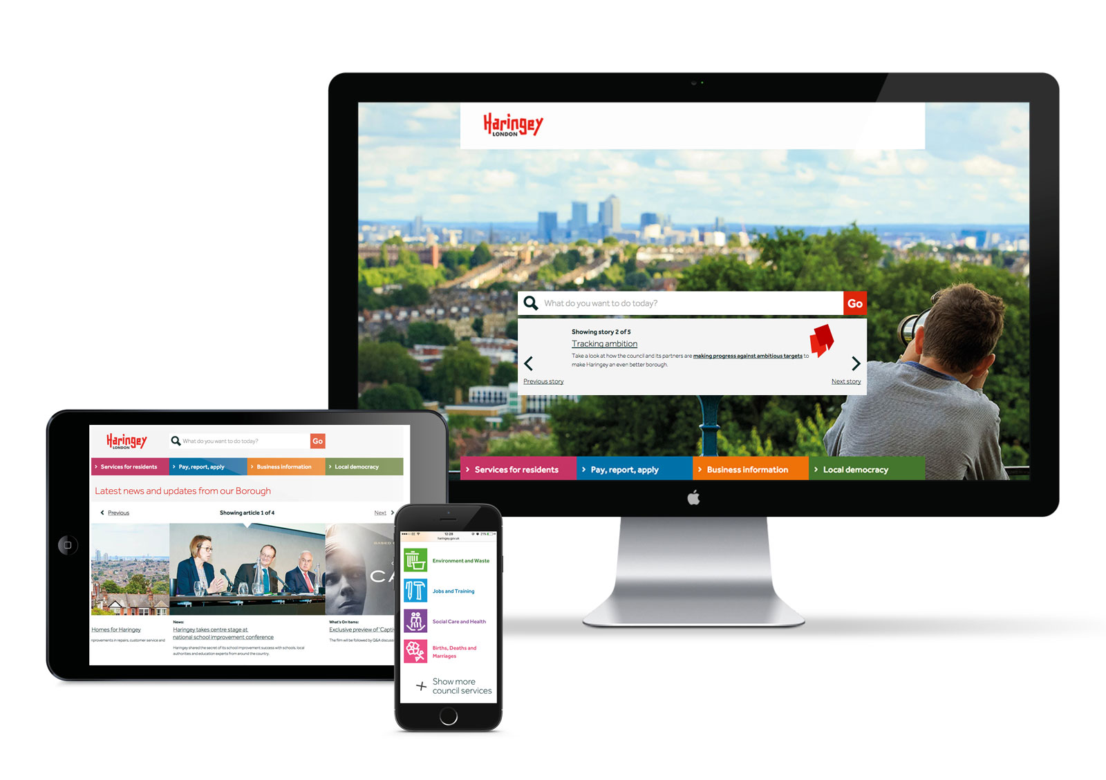 The council website on multiple devices