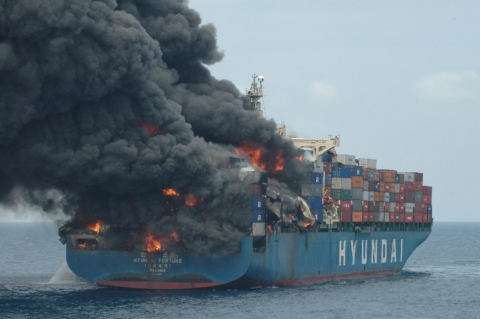 Container ship on fire